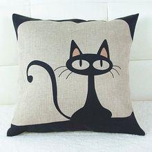 Stile vintage patterns cat cotone lino pillow case divano rimessa laterale cuscino quadrato casa letto decor(China (Mainland))