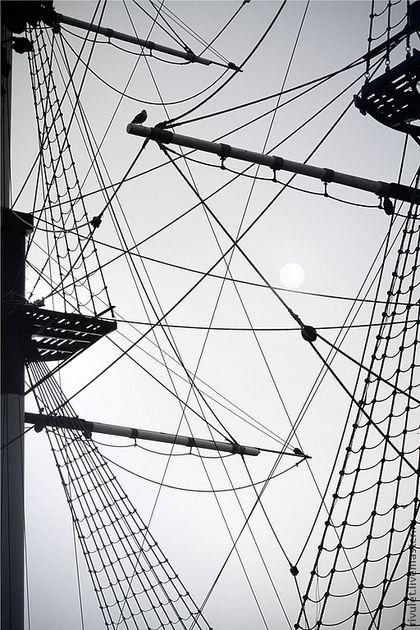 Фотокартины ручной работы. Ярмарка Мастеров - ручная работа Черно белый постер «Азы морской геометрии», абстрактная морская тема. Handmade.