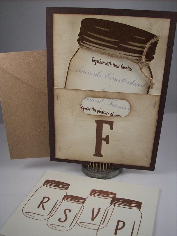 Mason Jar Wedding Invitation  Personalized by Scrappingoodtimes, $5.00
