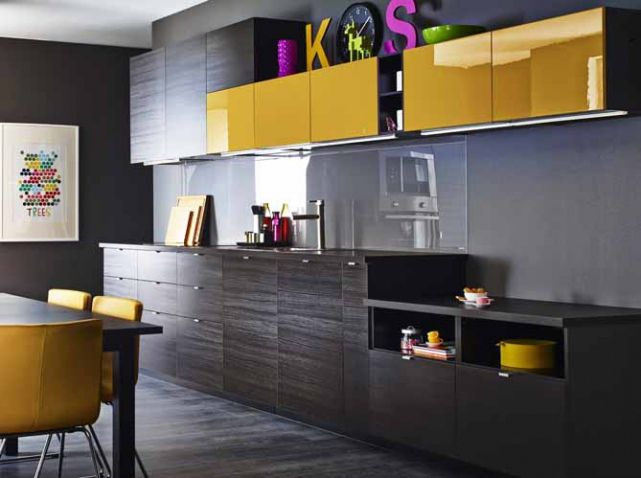 cuisine design jaune marron bois fonc ikea - Cuisine Marron Ikea