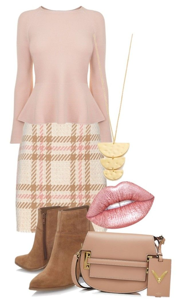 """light pink"" by nkichar on Polyvore featuring MARC CAIN, BOSS Hugo Boss, Nine West, Gorjana, Valentino and Lime Crime"