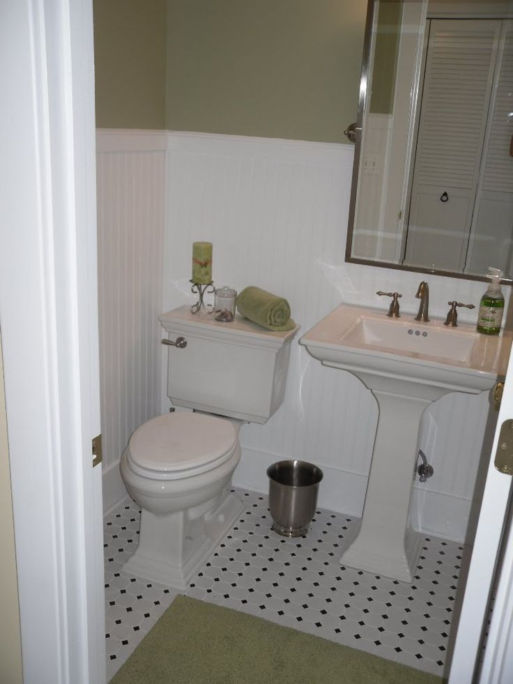 Small Half Bathroom Design Ideas Part - 25: Bathroom, : Interesing Small Bathroom With White Beadboard Wainscoting And  Square Padestal Sink Along With Wide Vertical Rectangular Mirror