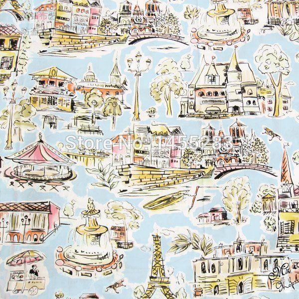 150 cm breedte parijs gedrukt 100% katoen voor kinderen beddengoed kussensloop, Twill doek voor naaien quilten door yard meter 24,- 2 meter