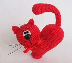 modelo del ganchillo del gato del día de San Valentín
