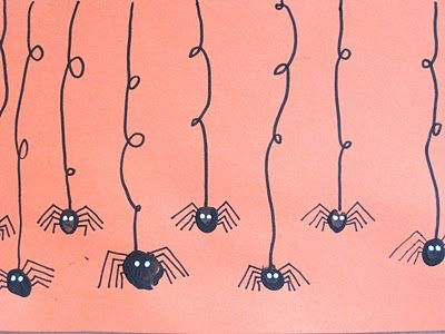 KWP--Conner and I did this today.  I didn't have black paint so we used brown instead.  He loved it!!  It didn't look this cute though.  ---Fingerprint spider cards
