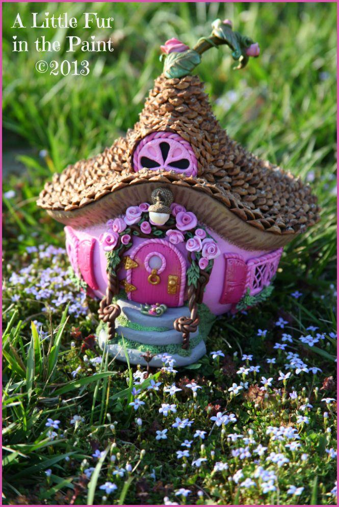 Pink Gourd Fairy House Anne Berbling ~ www.alittlefurinthepaint.blogspot.com