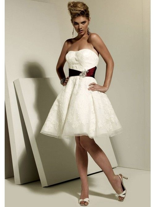 A-Line Strapless Beach Bridal Gown with Beadings