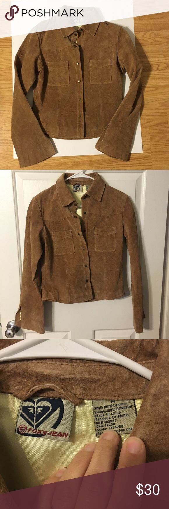 Roxy Leather jacket (vintage) Brown 100% suede leather jacket. Vintage, has been kept in a dress bag for years. Yellow lining. Snap buttons. Slits in the sleeves, the sleeves flare out. Runs small in my opinion, would fit a small better. 2 chest pockets, small spot under pocket seen in last 2 pics. Seems to be 70's inspired. Roxy Jean Jackets & Coats
