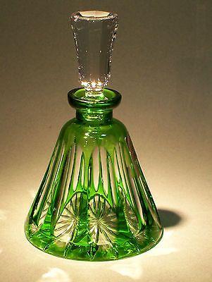 CAESAR CRYSTAL Perfume Bottle Green Cut to Clear Overlay Czech Bohemian Glass
