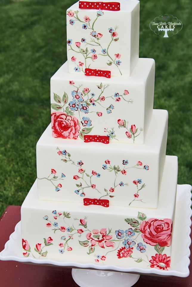 Another gorgeous hand-painted cake. I love this color scheme, and especially those little polka dotted bows! By Three Little Blackbirds (TLB Cakes)