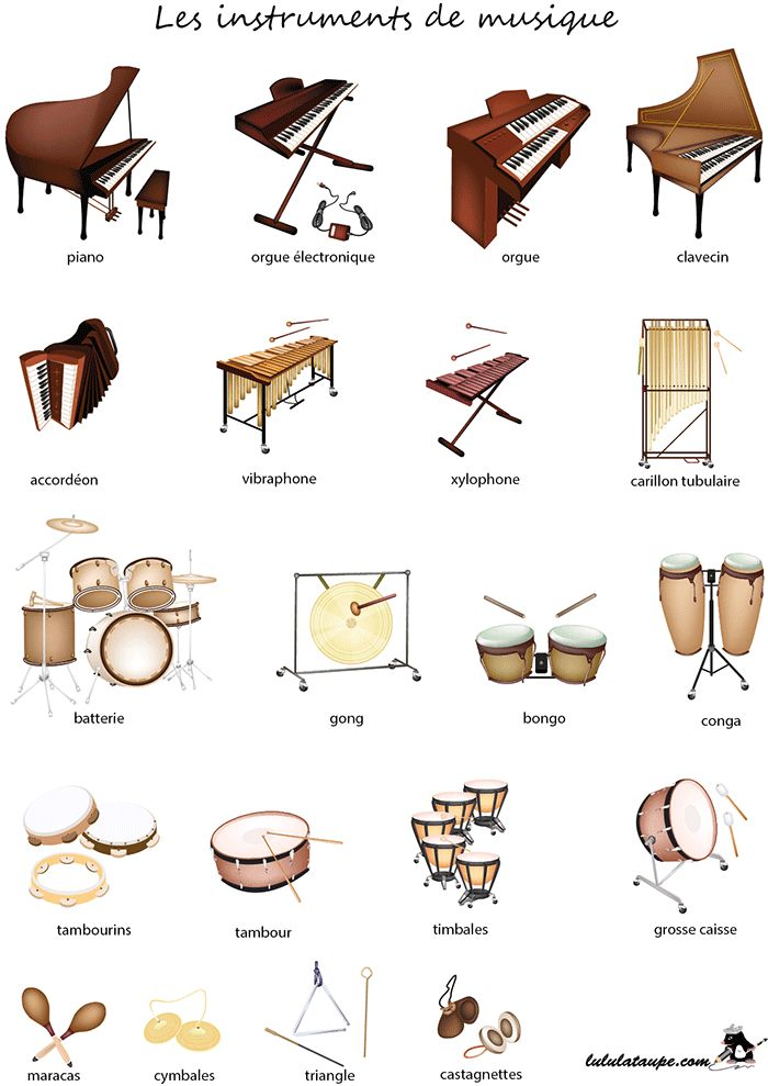 Imagier gratuit à imprimer, les instruments de musique (1)