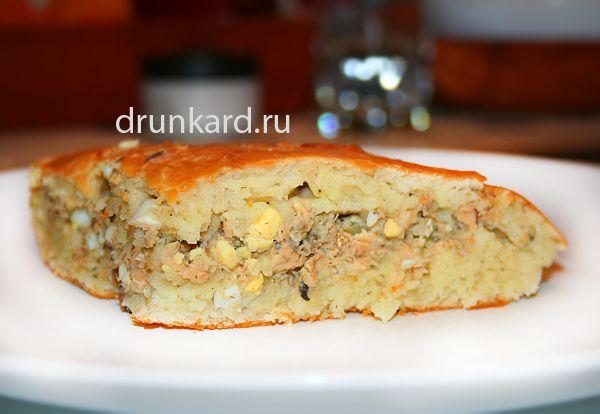 Быстрый рыбный пирог с яйцом