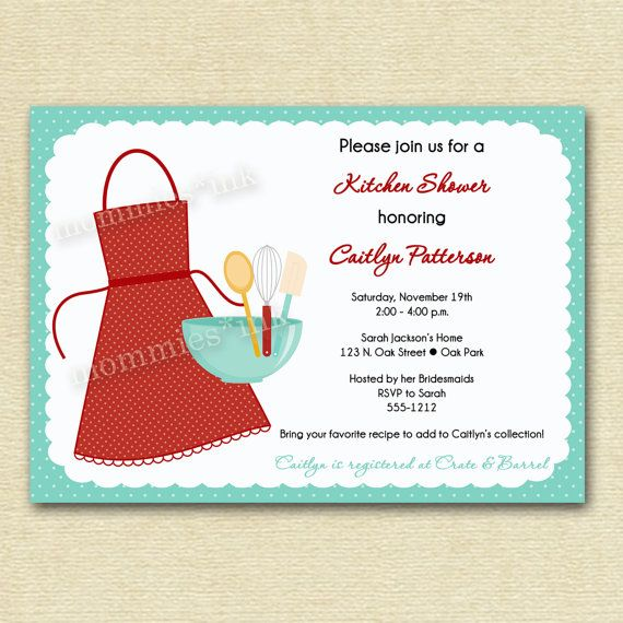 Kitchen bridal shower invitation kitchen shower baking shower bridal shower invite for Imprintable bridal shower invitations