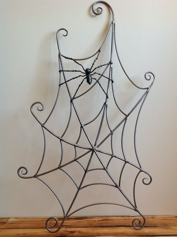 Spiderweb and spider forged steel sculpture, metal wall hanging art. Perfect spooky and scary Halloween decor or gift for the horror fan
