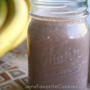 This chocolate smoothie includes bananas, peanut butter, and chocolate protein powder.