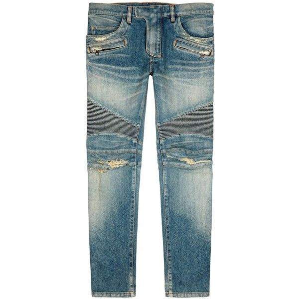 Balmain Blue Distressed Skinny Biker Jeans - Size W28 (1 525 AUD) ❤ liked on Polyvore featuring men's fashion, men's clothing, men's jeans, mens ripped skinny jeans, mens super skinny ripped jeans, mens destroyed jeans, mens blue ripped jeans and mens faded jeans