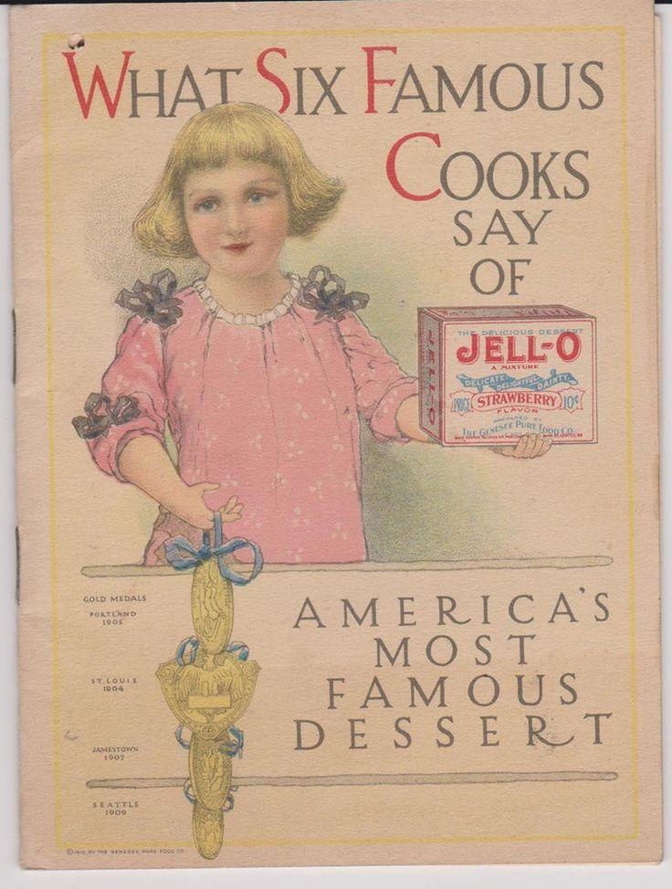 1912 Jell-O Ad Recipe Booklet & Ice Cream Powder Insert Six Famous Cooks Say #Jello