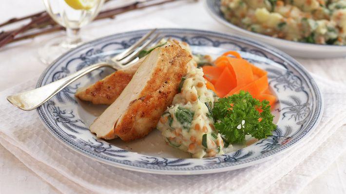 Kyllingfilet med linse- og potetmos - Rask - Oppskrifter - MatPrat