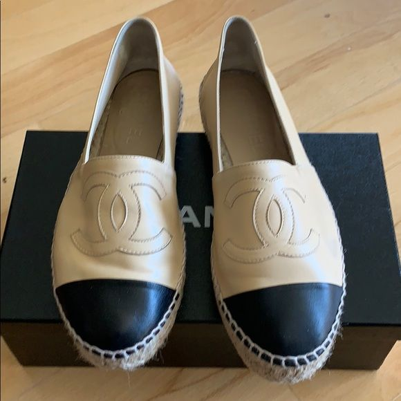 Chanel Espadrilles beige black size 38