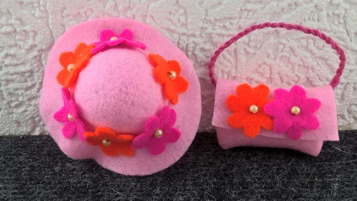 Pink hat and handbag for Barbie. OOAK hand made hat and purse for 12inch fashion doll. Hand made pink and orange flower decorations. by Nobodyknitsitbetter on Etsy