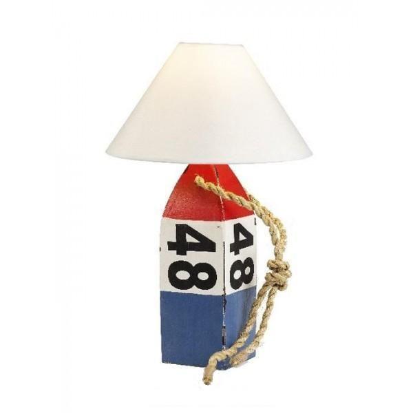 Lámpara de sobremesa de estilo marinero. Reproducción de una boya náutica tallada en madera con acabado rústico. http://www.decoratessen.com/es/14-lamparas-marineras