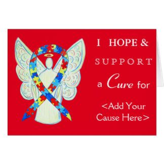 Puzzle Autism Spectrum Disorder (ASD) Awareness Ribbon Angel Custom Greeting Card