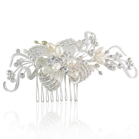 Margaret Crystal Bow & Fresh Water Pearl Hair Comb