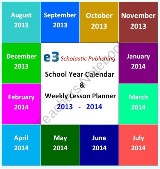 Interactive School Calendar and Weekly Lesson Planner 2013 - 2014 (MS Word)