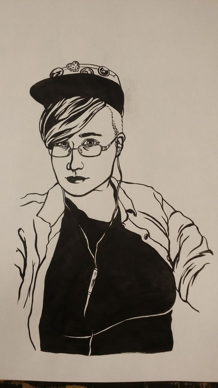 works towards final series - self portrait from photographic source - india ink (over preliminary pencil sketch, later erased)