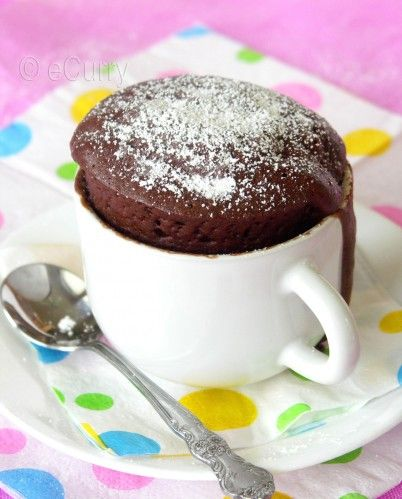 Easiest way to make this....  Mix a box of  angel food cake mix with chocolate cake mix in a Ziploc bag.   In a cup, mix together 1/3 cup of the mix & 3 Tbsp of water.  Microwave one minute.  Cake in a cup!  Can be done with other flavors of cake mix too.  Good idea for having one little splurge rather then making a big cake & being tempted! Totally works!  DELISH!!!