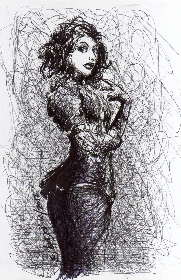 Chaotic 1 hour sketch, ball pen, sharpie & photoshop