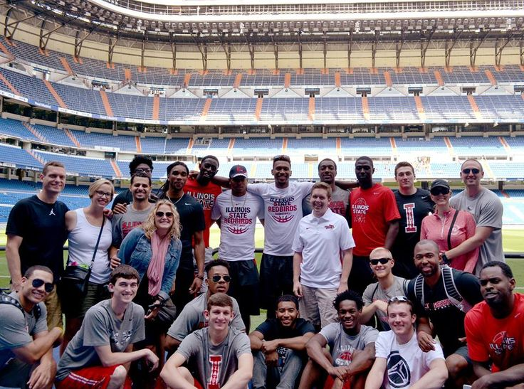 The Illinois State men's basketball team is enjoying its 10-day trip to Spain. The Redbirds are squeezing in some sightseeing around their 4-game schedule, pictured here at the home of Real Madrid.  (photo courtesy John Twork)