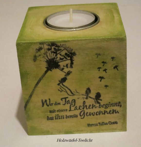 Teelichthalter Holzbox Pusteblume Spruch  von ღKreawusel-Designღ auf DaWanda.com