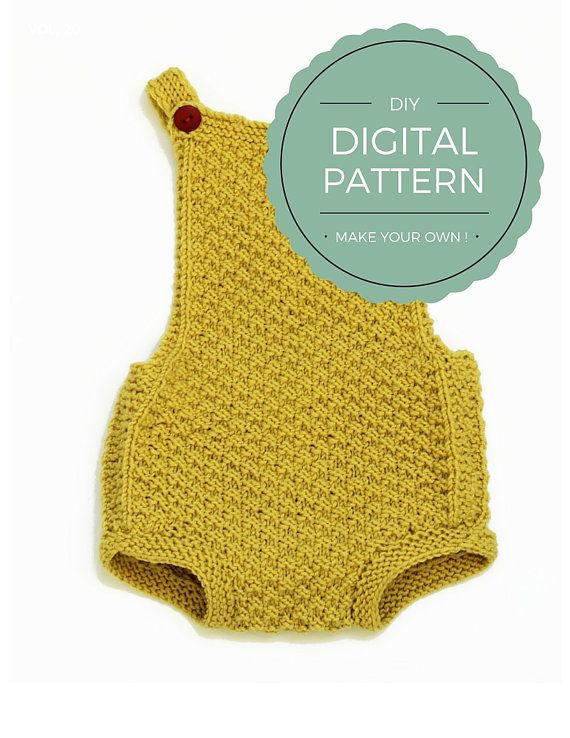 DIY -knit your own Mia romper! This is a digital download pdf file with knitting instructions in ENGLISH & NORWEGIAN Upon purchase, you will receive 2