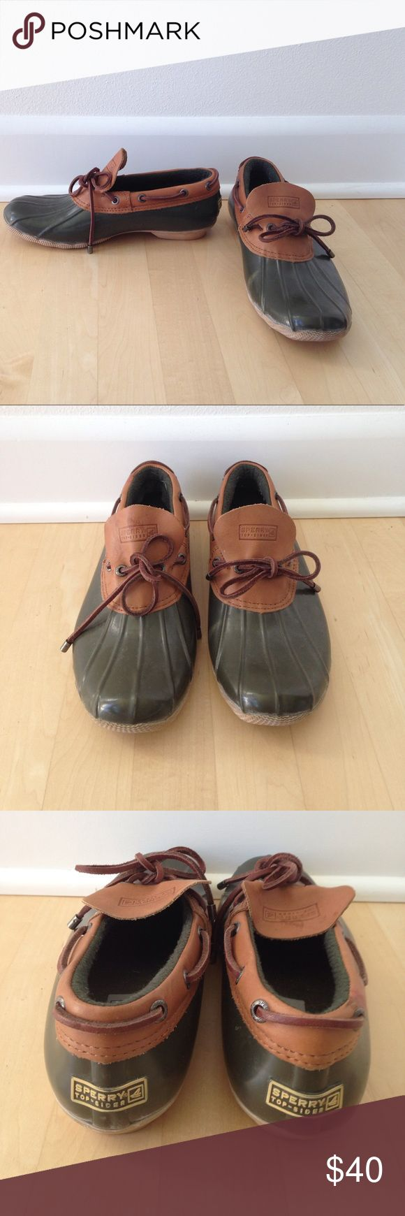 SPERRY TOP-SIDER  DUCK SHOES FOR J. CREW Sperry Top-Sider green and brown rubber duck shoes for J. Crew.  Women's size 8.  In great condition. j crew Shoes Winter & Rain Boots