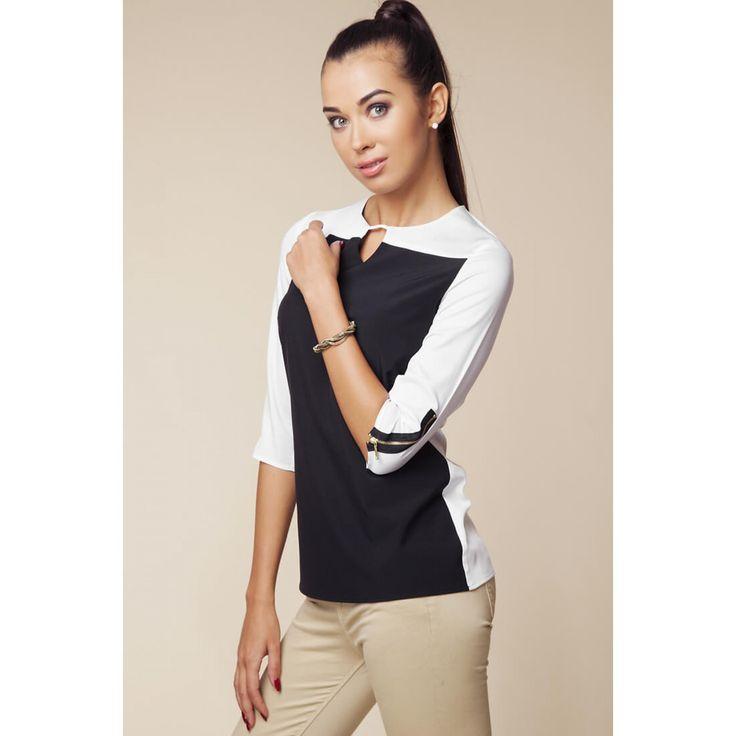 Bluza de dama bicolora cu maneci trei sferturi 119.90 ron #bluzaoffice
