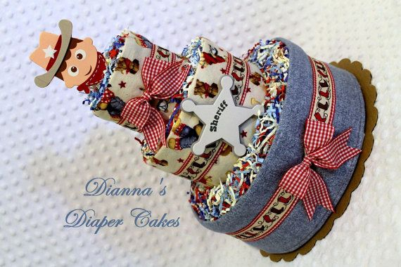 Sheriff Country Western Baby Diaper Cake Shower Gift or Centerpiece