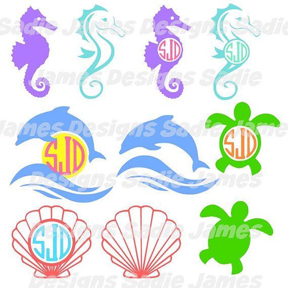 Sea Animals Monogram Svg And Silhouette Studio Cutting