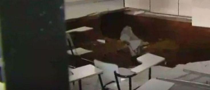 Noticias ao Minuto - Chão de sala de aula cede e crianças caem em buraco de cinco metros