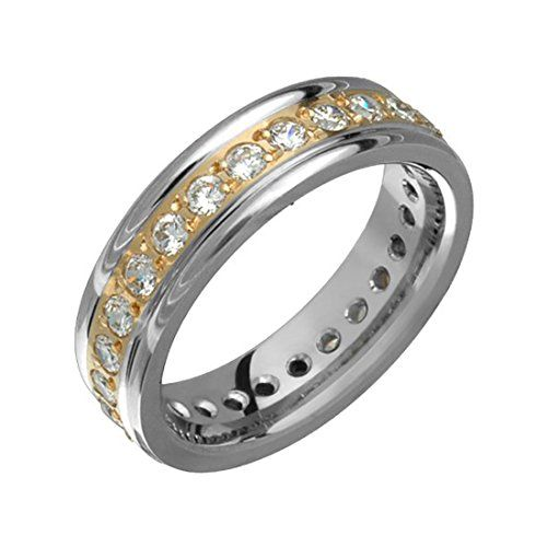 briliance two tone titanium diamond band 14kt yellow gold inlay 55mm wide wedding ring him