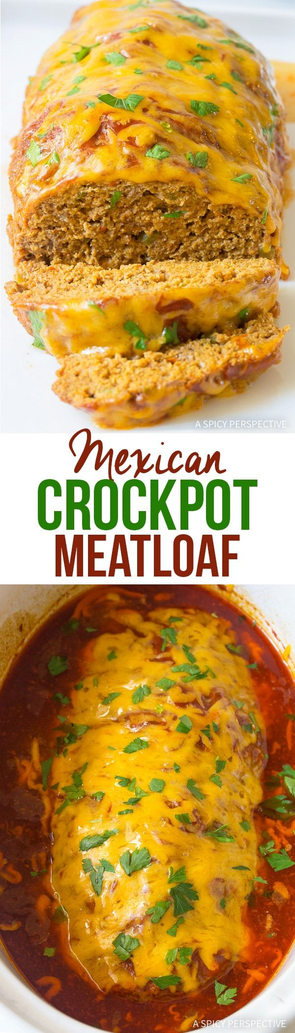 Mexican Crockpot Meatloaf Recipe - A fun twist on classic meatloaf, you can make in your slow cooker. Zesty, loaded with hidden vegetables, and ultra moist! via @spicyperspectiv