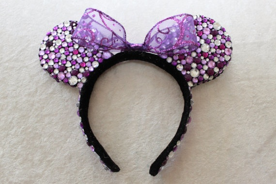 Purple & White Rhinestone Minnie Mouse Ears on Etsy!