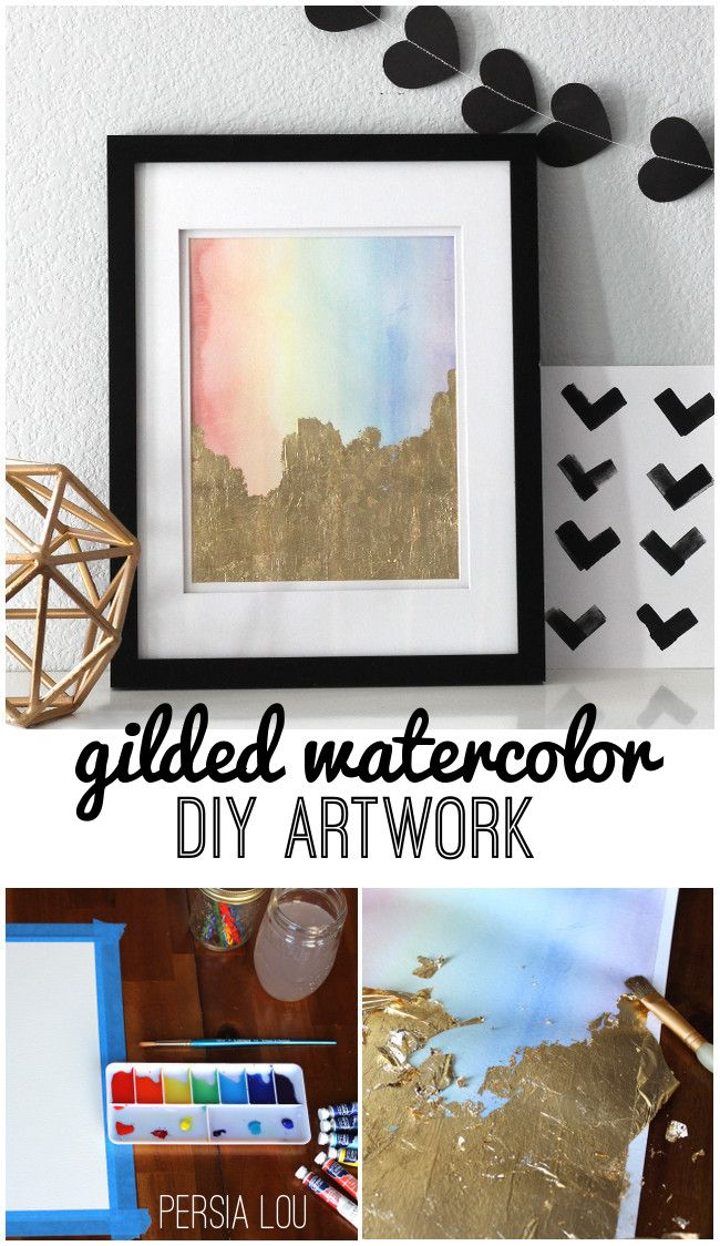 Persia Lou: Gilded Watercolor Artwork Tutorial ***You could use a gold acrylic after the watercolor has fully dried for nearly the same effect***