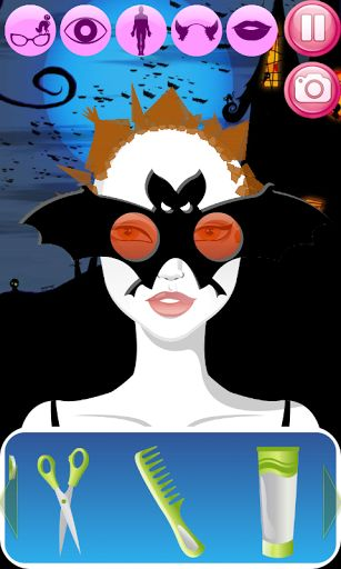 Hair Salon Halloween - use new ideas for Halloween 2013 and create the great Halloween costume with your own hands. Doll makeover and dress up spa salon is here!<p>If you like paris fashion make up salon games for girls and horror films you will definitel