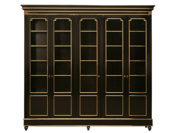 Buy Ebonized Solid Mahogany & Bronze Louis XVI Style 5 Door Bookcase/China Cabinet by Old Plank - Made-to-Order designer Furniture from Dering Hall's collection of Transitional Bookcases & Étageres.