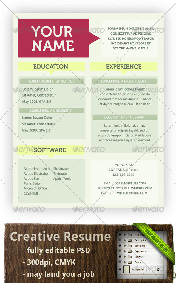 creative resume template resume design pinterest