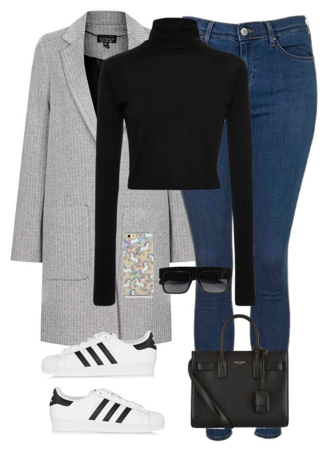 """Başlıksız #1247"" by zeynep-yagmur ❤ liked on Polyvore featuring Topshop, Rosetta Getty, adidas Originals, Yves Saint Laurent and CÉLINE"