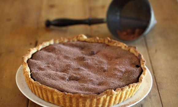 Chocolate, Quince and Almond Tart. Maggie Beer