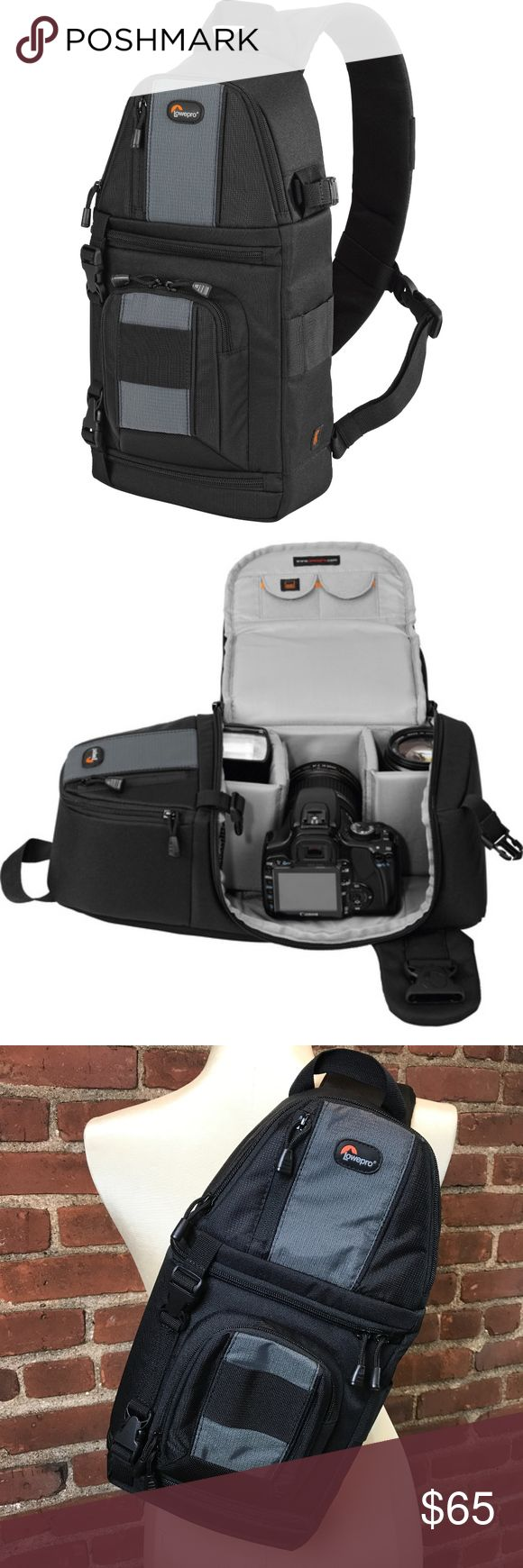"""Lowepro Slingshot 102 AW Camera Bag LOWEPRO """"SLINGSHOT 102 AW"""" CAMERA BAG  Exterior dimensions Width: 8.3 Depth: 8.7 Height: 15.9  Interior dimensions Width: 6.3 Depth: 4.3 Height: 10.2  Features: -Easy glide zippers -Tripod holder -Padded divider system -2 memory card pockets -All weather cover -3 slip lock attachment loops Lowepro Bags"""