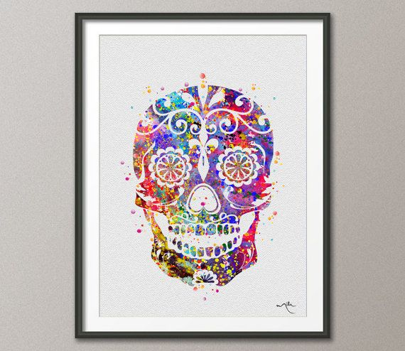Sugar Skull Day of the Dead Watercolor illustrations Art Print 8x10 Wall Art Poster Giclee Wall Decor Art Home Decor Wall Hanging [NO 266]